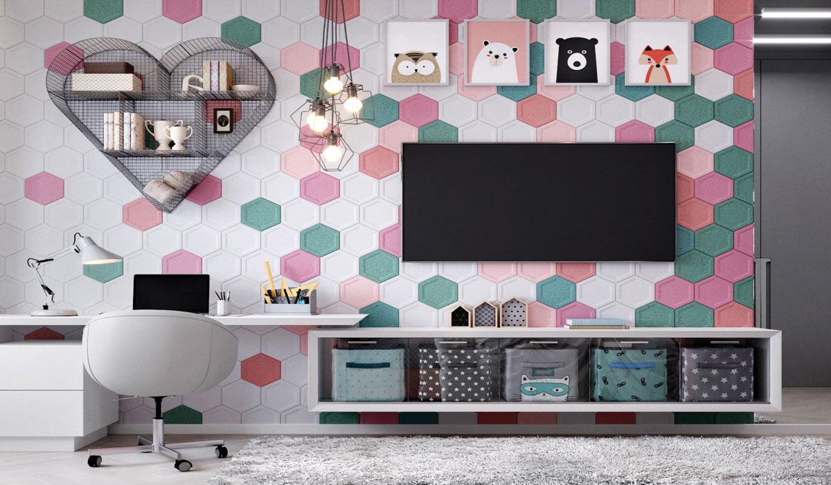 Bàn làm việc liền với kệ Tivi rất độc đạo kết hợp với mảng tường trang trí tuyệt đẹp đầy màu sắc yêu thương.
