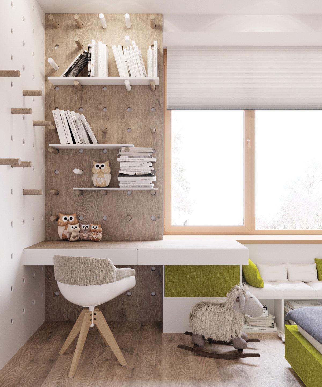 Một chiếc bàn làm việc đẹp trong phòng ngủ và đầy ấn tượng với các cọc gỗ, trang trí là các con chim cú mèo kết hợp với mẫu ghế Eames sành điều