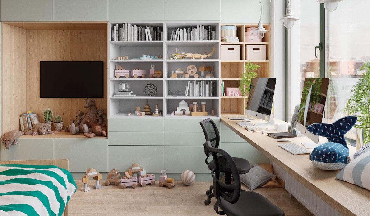 Thiết kế bàn đơn giản, ngay cạnh cửa sổ với không gian cho những người thích sáng tạo