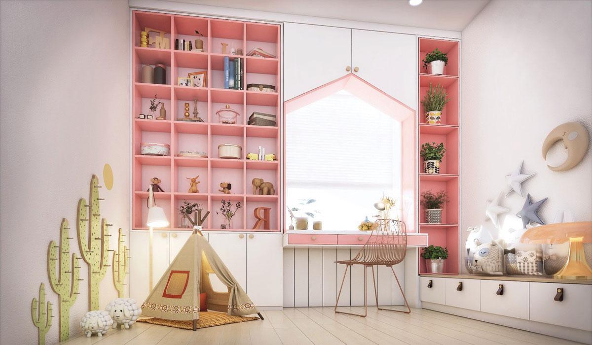 Chiếc bàn màu hồng đẹp thiết kế cho những ai yêu thích màu hồng