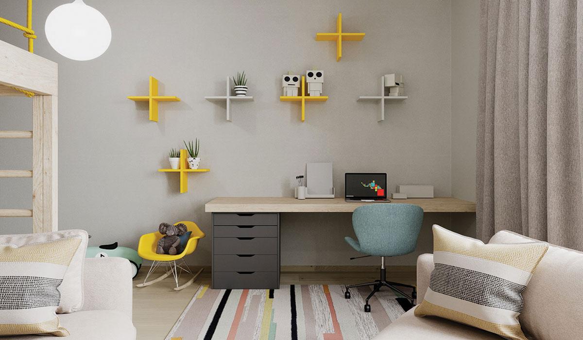 Mẫu bàn thiết kế thông minh sử dụng hộc tài liệu làm chân bàn, mặt bàn làm từ gỗ tự nhiên đơn giản