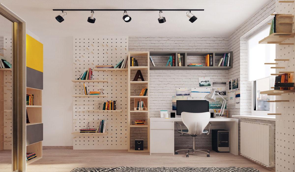 Một chiếc bàn màu trắng kết hợp với bức tường trang trí ấn tượng tạo ra không gian làm việc tuyệt đẹp trong căn nhà