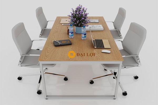 Bàn làm việc nhóm 4 người mặt bàn bằng gỗ tự nhiên