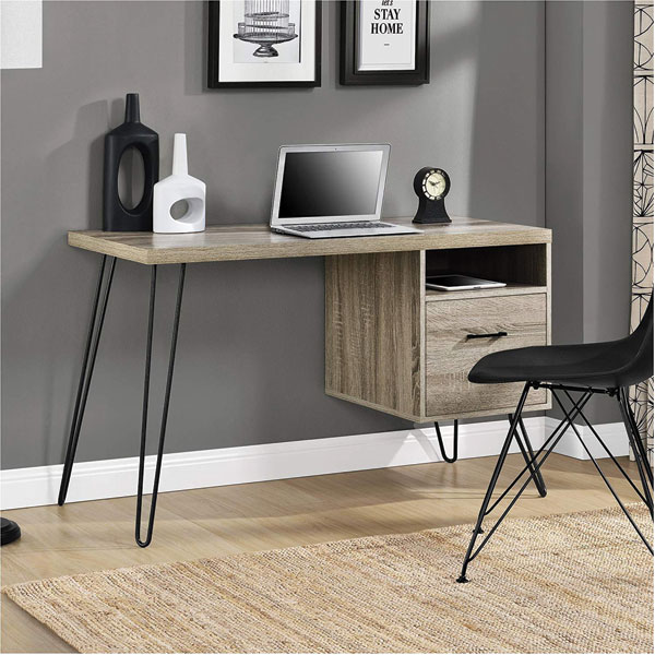 Bàn chân sắt hiện đại làm việc tại nhà, kết hợp với ghế Eames