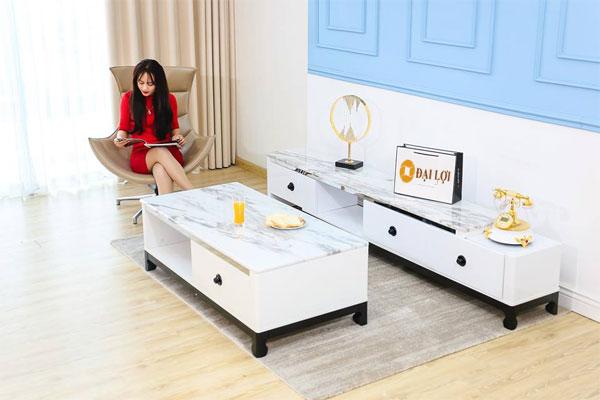 Bàn sofa mặt đá trắng thiết kế hiện đại tạo không gian sang trọng