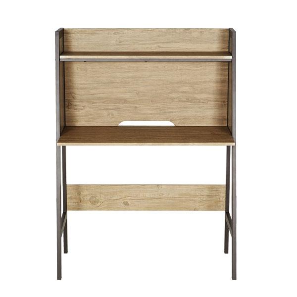 Mặt ngồi thẳng của bàn vi tính khung sắt, thiết kế tinh tế đơn giản kèm kệ trang trí