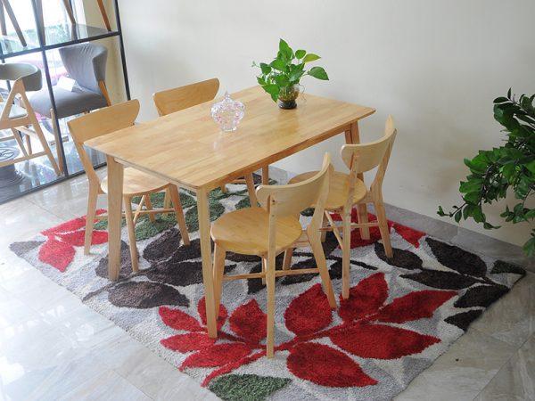 Bộ bàn ghế ăn Moontrap 4 ghế gỗ tự nhiên