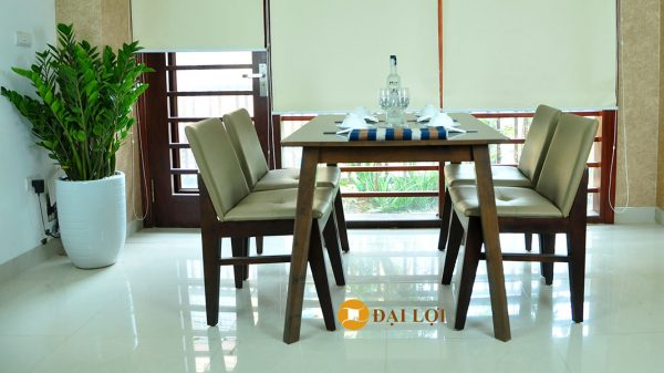 Bộ bàn ghế ăn hiện đại màu nâu - Kudo 4 ghế
