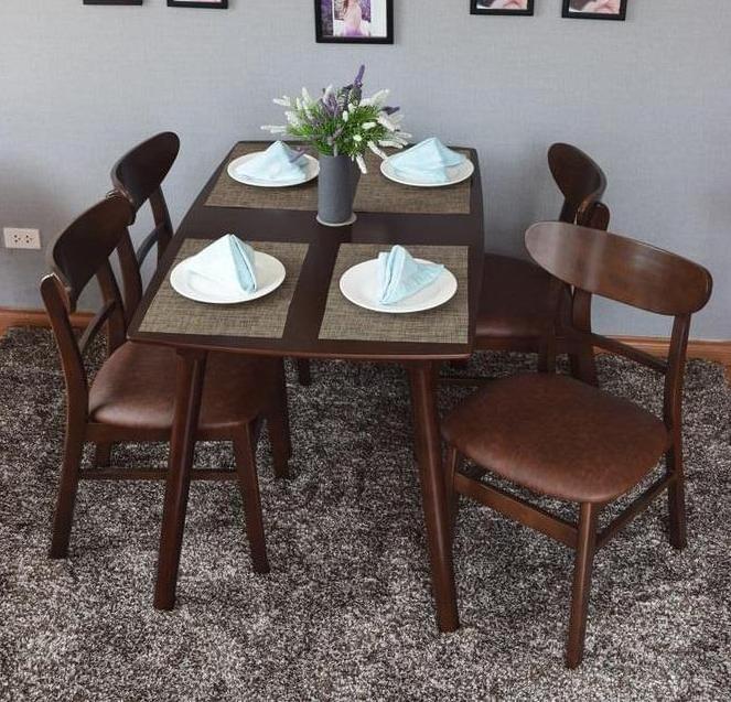 Bộ bàn ghế ăn hiện đại Mango 4 ghế màu nâu
