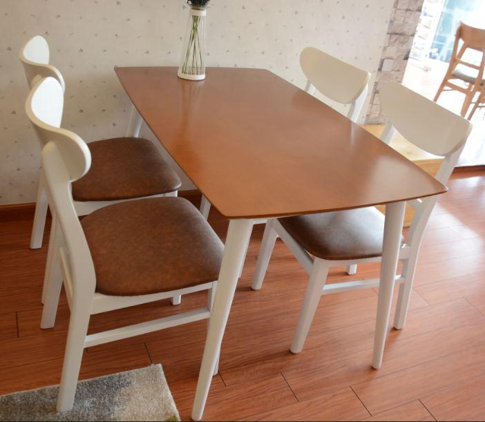 Bàn ghế ăn hiện đại Mango 4 ghế màu trắng