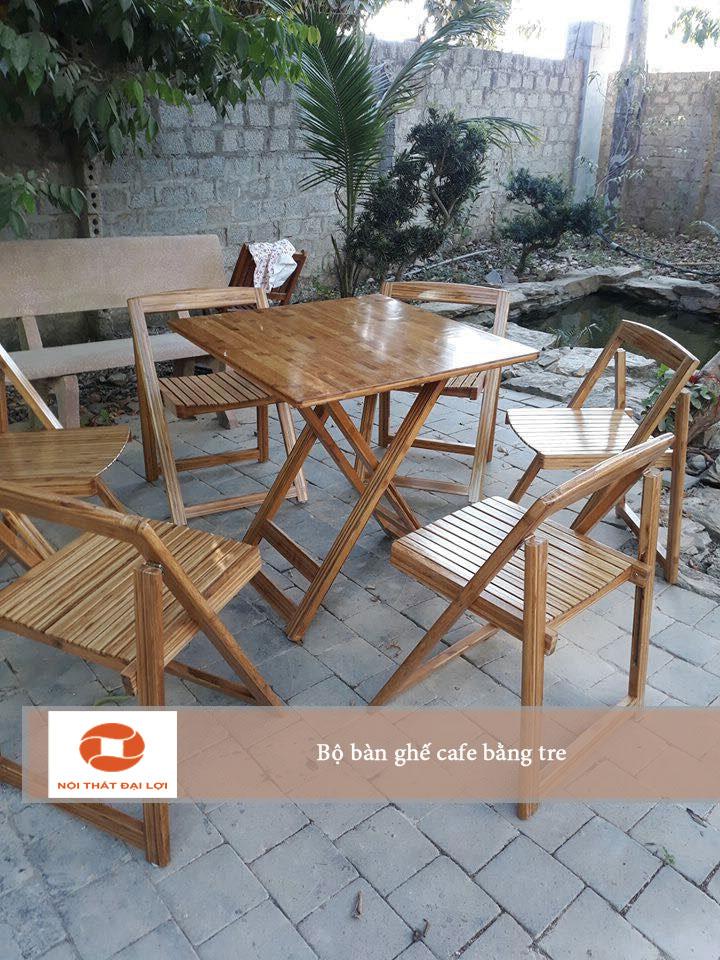 Bộ bàn ghế cafe bằng tre