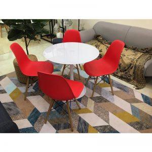 Bộ bàn Tulip 80cm và 4 ghế Eames màu Đỏ