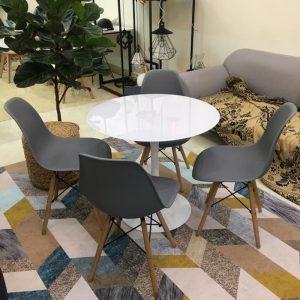 Bộ bàn Tulip 80cm và 4 ghế Eames màu Ghi