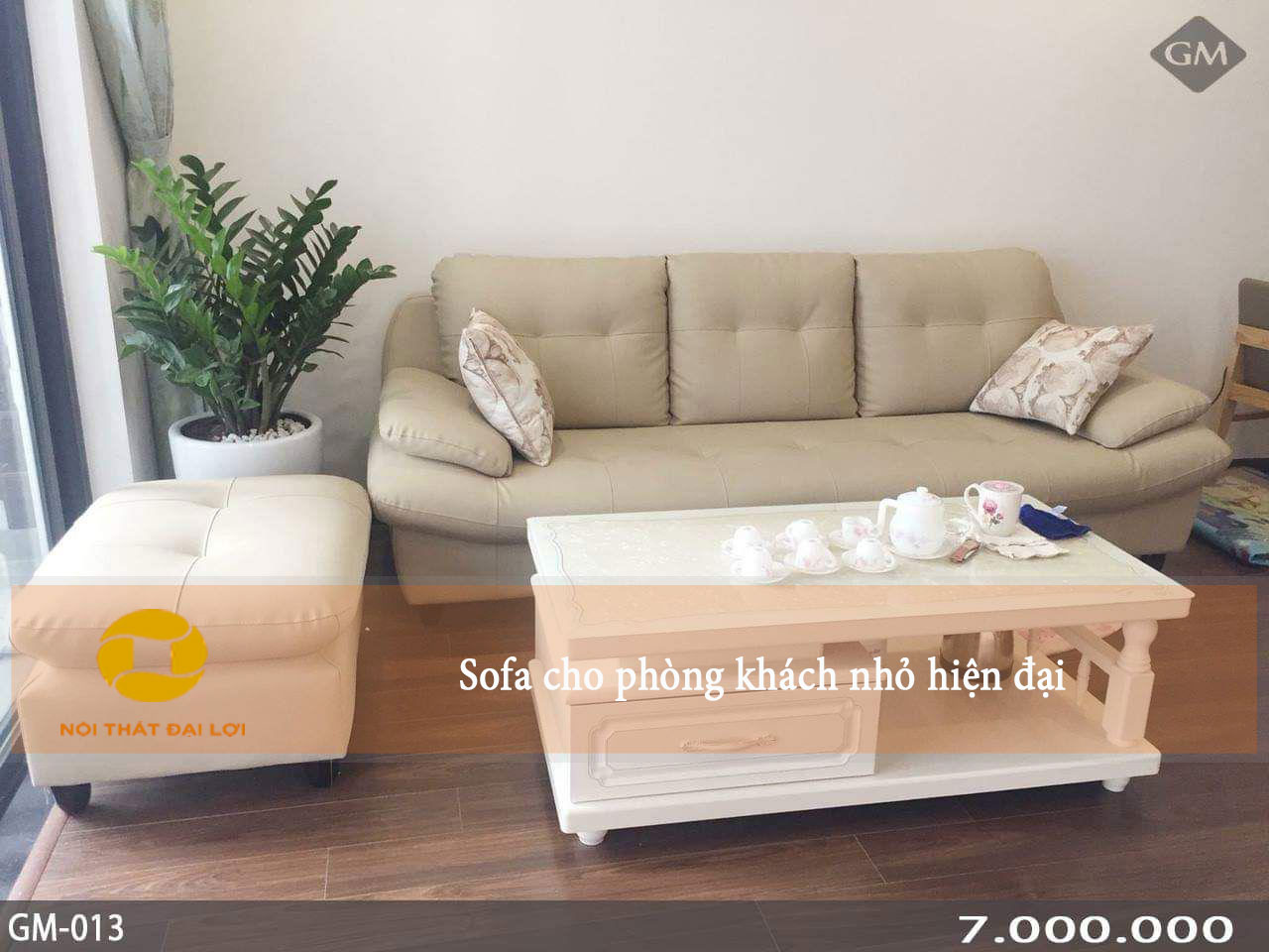 Mẫu 3 - Ghế sofa da cho phòng khách nhỏ