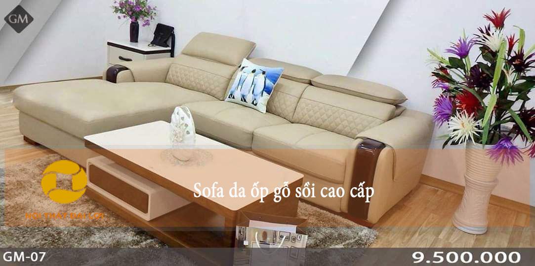 Mẫu 6 - Sofa da ốp gỗ hiện đại