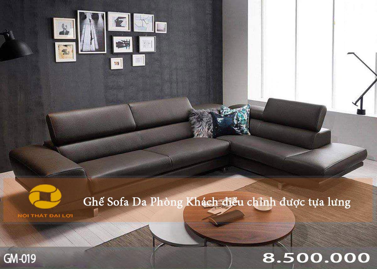 Mẫu 4 - Sofa da phòng khách điều chỉnh tựa lưng gật gù