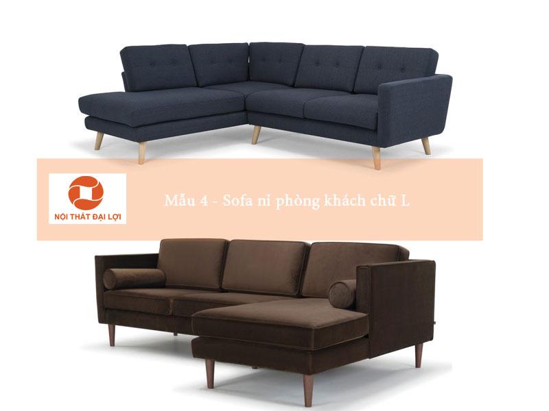 Mẫu 4 - Sofa nỉ chữ L