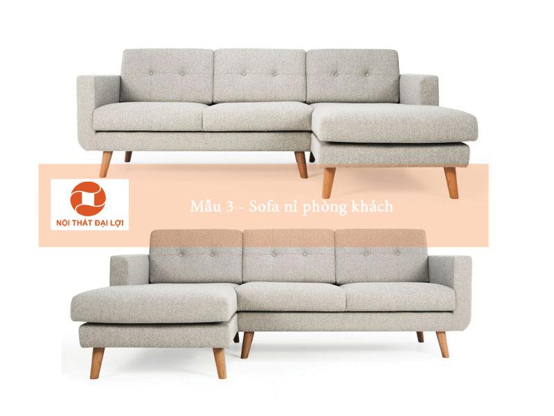 Mẫu 3 - Sofa nỉ phòng khách