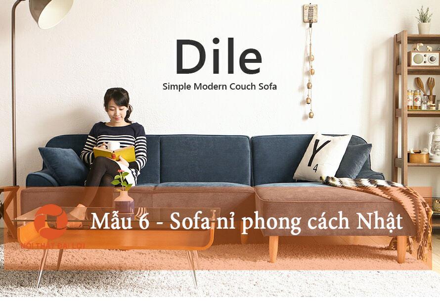 Mẫu 7 - Sofa nỉ phong cách Nhật Bản