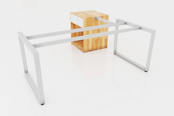 Chân bàn sắt sơn tĩnh điện cho bàn chữ L gắn hộc sơn trắng