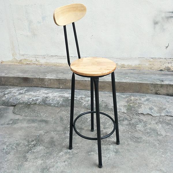 Ghế bar chân sắt mặt gỗ có tựa