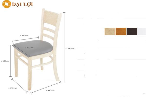 Kích thước chất liệu ghế ăn gỗ Mostar