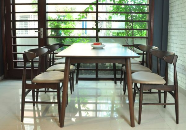 Bộ bàn ăn 4 ghế hiện đại Lunar màu nâu
