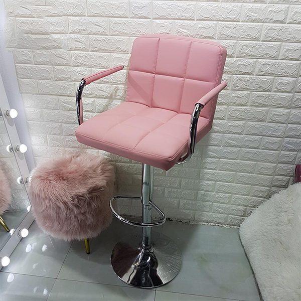 Ghế bar cao cấp có tay màu hồng phấn
