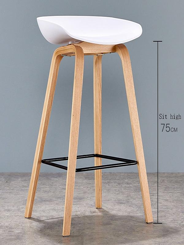 Ghế bar chân sắt giả gỗ mặt nhựa màu trắng