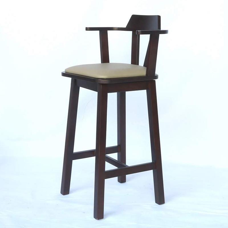 Ghế bar gỗ xoay 360 độ màu nâu