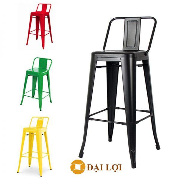 Ghế bar tolix lưng thấp full màu