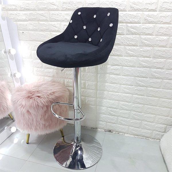 Ghế bar bọc nhung màu đen