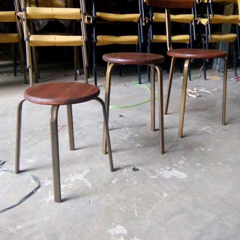 Ghế đôn chân sắt mặt gỗ