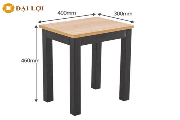 kích thước Thiết kế ghế đôn sắt mặt gỗ vuông