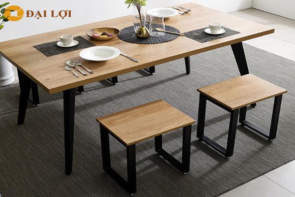 Ghế đôn sắt màu ghi, kết hợp với bàn ăn màu ghi
