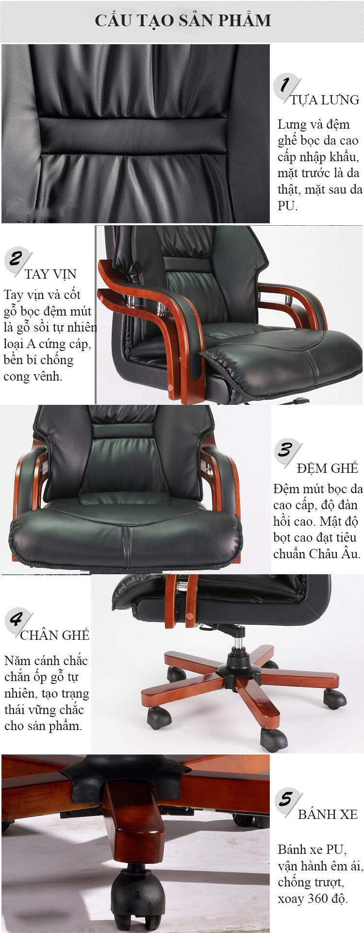 Chân ghế và tính năng sản phẩm Ghế giám đốc cao cấp GD03