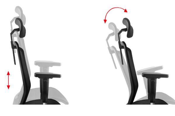 Phần lưng ghế điều chỉnh nghiêng nhiều góc độ tạo tư thế nghỉ ngơi. Bộ phận đỡ gáy và đầu di chuyển linh hoạt