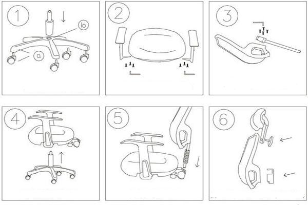 Các bộ phận của ghế GL324 và cách tháo lắp phụ kiện đi kèm