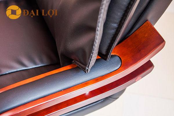 Tay ghế đỡ là gỗ sơn PU cao cấp, bọc da sang trọng