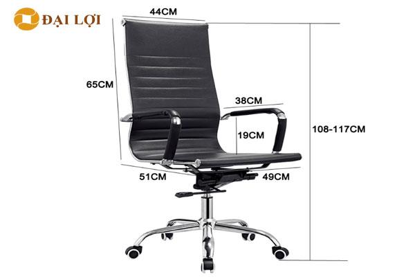 Kích thước chi tiết ghế xoay GL212 dòng lưng cao, nếu các bạn đặt dòng lưng cao chi phí thêm 250,000vnd