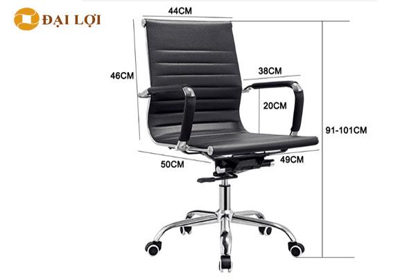 Kích thước chi tiết ghế xoay GL212 dòng lưng thấp