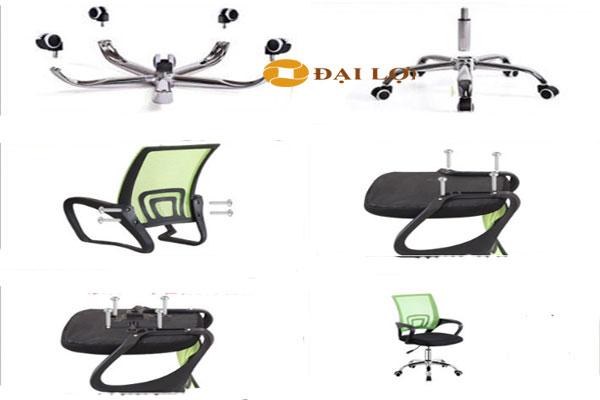 Các bộ phận tách rời của ghế AGL112 được chia làm 4 phần chính, chân ghế, tự lưng tay ghế và phần đệm ngồi