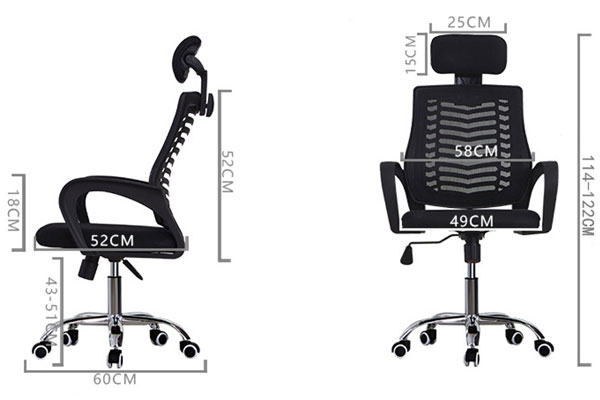 Hình ảnh kích thước ghế GL117, độ sâu của lòng ghế, chiều cao lưng ghế và độ rộng của bánh xe