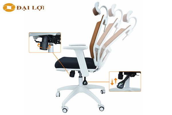 Ghế GL309 Thiết kế nút điều chỉnh để ngả ghế ra phía sau rất thông minh, thuận tay dễ điều khiển