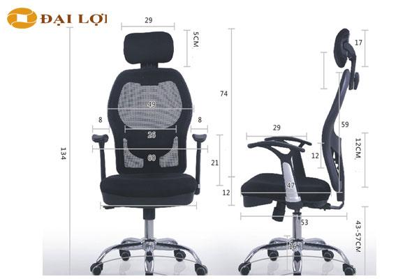 Kích thước chi tiết ghế giám đốc GL309