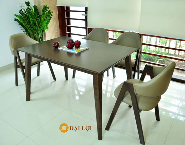 cách bố trí bộ bàn ghế ăn gỗ xuất khẩu Emma 4 ghế màu nâu