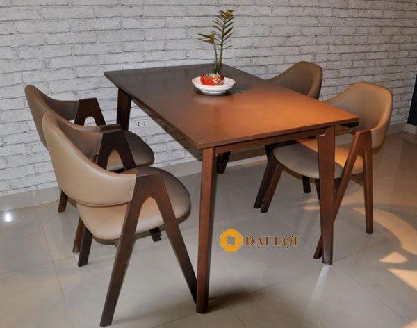 bộ bàn ghế ăn gỗ xuất khẩu Emma 4 ghế màu nâu