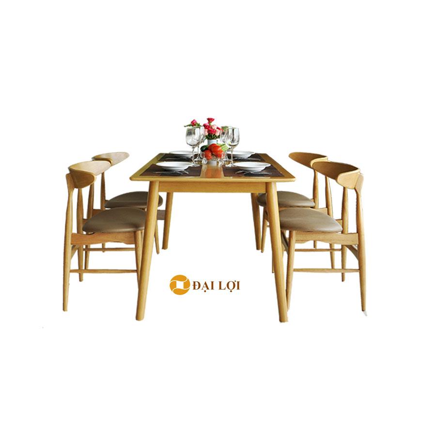 Bộ bàn ghế ăn gỗ cao su Lunnar màu vàng tự nhiên