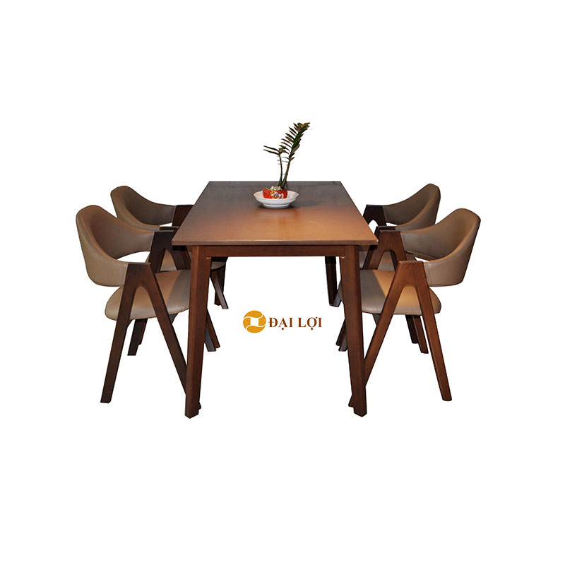 Bộ bàn ghế ăn gỗ cao su Emmar màu nâu