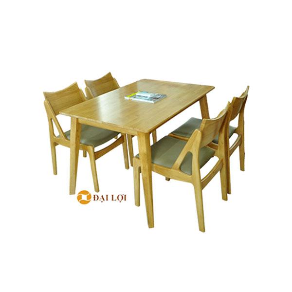 Bộ bàn ghế ăn gỗ cao su Osaka màu vàng tự nhiên